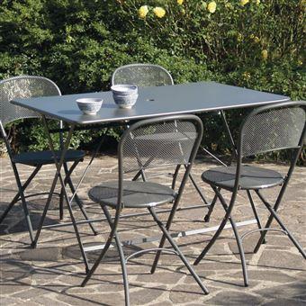 Table de jardin rectangulaire pliante 118x76cm Acier avec ...