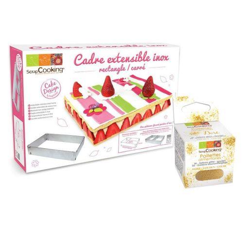 Cadre à pâtisserie extensible rectangle + paillettes dorées - ScrapCooking