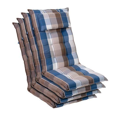 Coussin de chaise de jardin -Blumfeldt Sylt -120 x 50 x9 cm -4 pièces -Bleu / Marron
