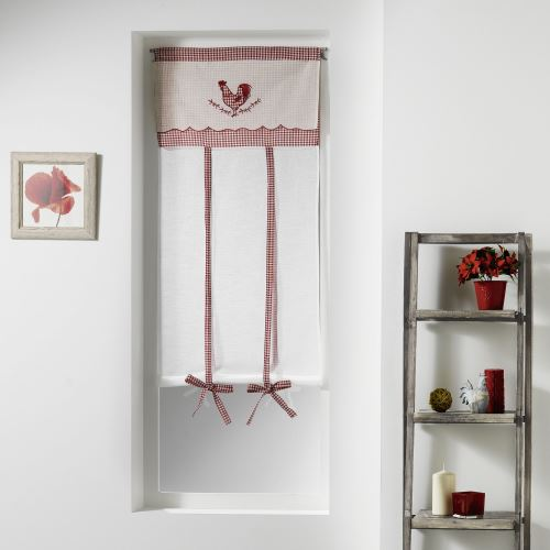 Store droit passe tringle 60 x 150 cm voile sable+top brode patty Rouge