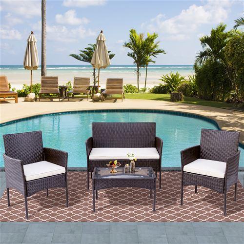 Salon de jardin Merax en résine tressée 1 banc 2 fauteuil 1 table basse marron