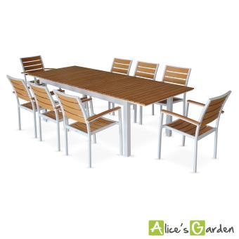 Salon de jardin 8 fauteuils, tableà rallonge extensible 205/260cm ...
