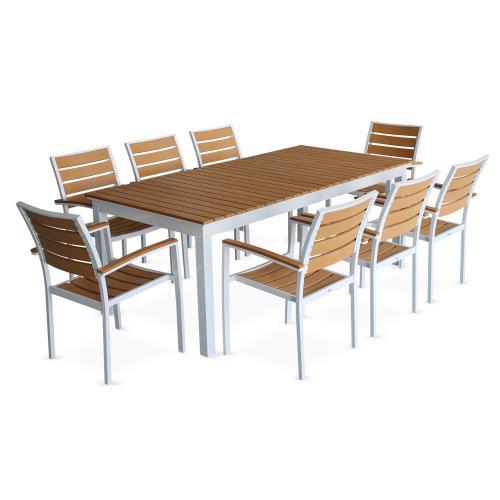 Salon de jardin 8 fauteuils, tableà rallonge extensible 205 ...
