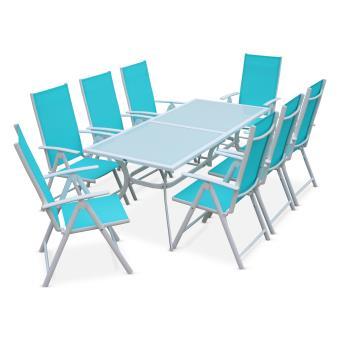 13% sur Salon de jardin aluminium 8 places turquoise - Alice\'s ...