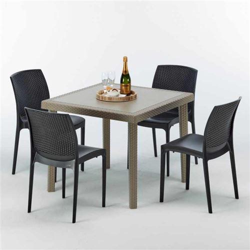 Table carrée beige + 4 chaises colorées Poly rotin synthétique ELEGANCE, Chaises Modèle: Boheme Anthracite noir