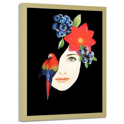 Feeby Tableau Image encadrée moderne mural cadre nature, Collage femme avec ara 70x100 cm