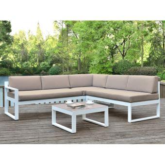 Salon de jardin PALAOS - Table basse et canapé d\'angle relevable 6 places -  Taupe