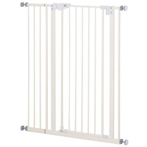 Barrière de sécurité longueur réglable dim. 74-84 cm ou 92-102 cm sans perçage métal plastique blanc