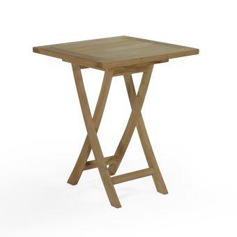 Table pliante carré en teck Ecograde Bistrot 60 x 60 cm