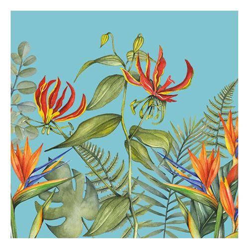 20 serviettes tropicale bleu 33x33cm