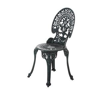 Chaise de bistrot jardin en fonte d\'aluminium vert vieilli ...
