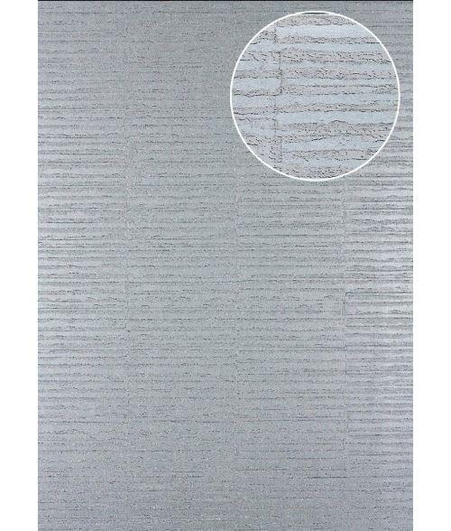 Papier peint à rayures Atlas 24C-4505-5 papier peint intissé texturé avec un dessin graphique et des accents métalliques argent platine gris 7,035 m2