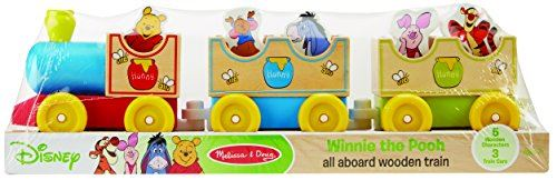 Melissa Doug Disney Baby Winnie the Pooh All Aboard Wooden Train With 3 Train Cars and 5 Characters
