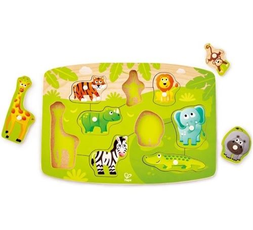Hape casse-tête en bois Jungle Peg junior vert 10 pièces