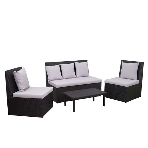 Garniture en polyrotin HWC-G16, canapé 2 places, table d'appoint, 2x fauteuil ~ noir, coussin gris clair