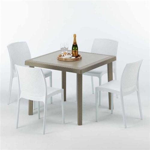 Table carrée beige + 4 chaises colorées Poly rotin synthétique ELEGANCE, Chaises Modèle: Boheme Blanc