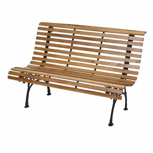 Banc de jardin HWC-F97, banc du parc, banquette en bois, fonte, 3 places, 122cm, 22kg ~ marron clair