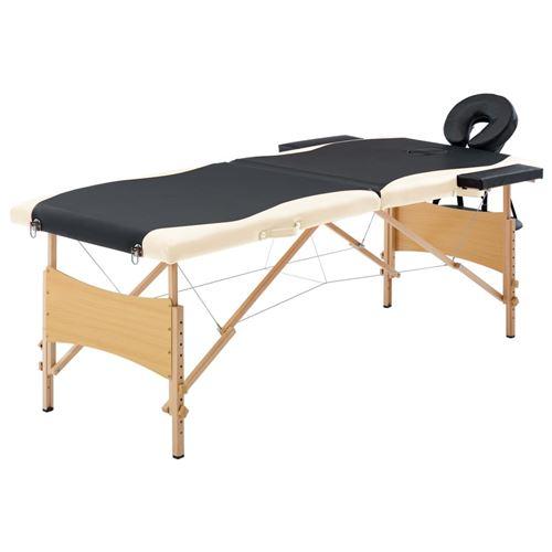vidaXL Table de massage pliable 2 zones Bois Noir et beige