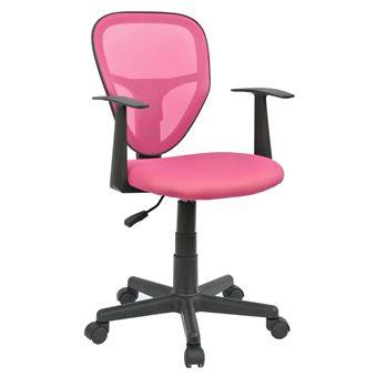 Fauteuil Chaise De Bureau Enfant STUDIO Hauteur Rglable Sur Roulettes Revtement Tissu Pink