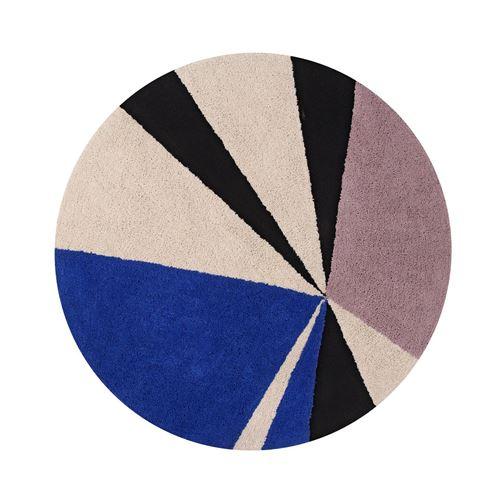Tapis rond style scandinave design bleu royal geometric lorena canals