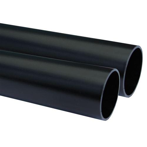 Lot de 2_Tube aluminium anodisé longueur 200 cm Ø 30 mm Noir