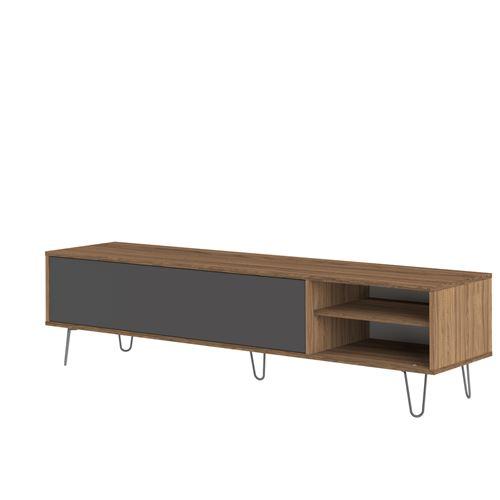 Meuble TV bas en bois avec 1 abattant, 2 niches et pieds métal L165 cm AERO - Noyer