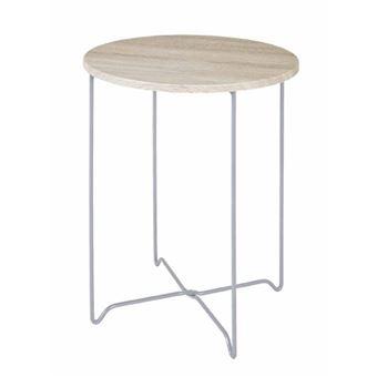 Haku Möbel 33081 Table Basse d\'Appoint Tube d\'Acier Aluminium/Chêne ...