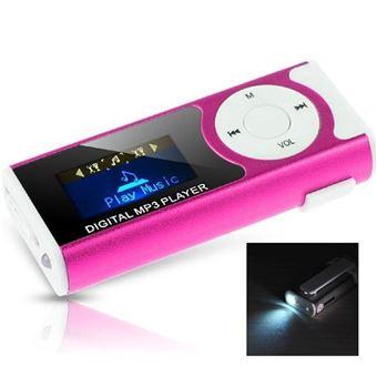 Lecteur mp3 à carte mémoire - lampe torche - clip ceinture - ecran lcd 1.1 - rose