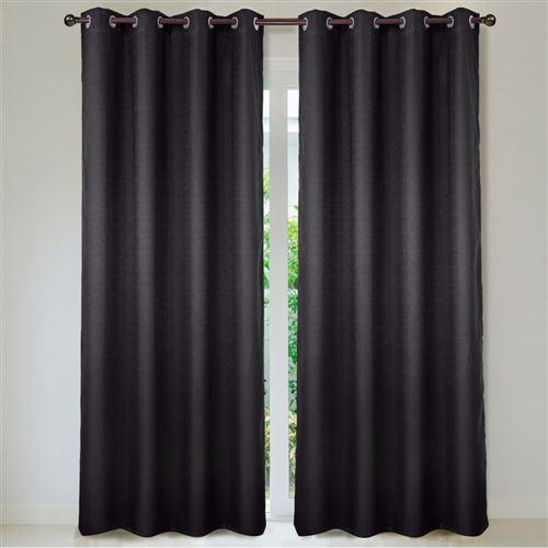 Paire de rideaux satiné brillant Brume - Noir, 140x260cm