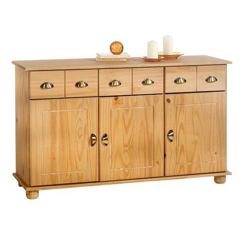 Buffet COLMAR commode bahut vaisselier meuble bas rangement avec 3 tiroirs et 3 portes, en pin massif teinté et ciré