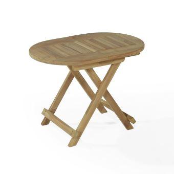 Table basse pliante ovale en teck Ecograde Maniz 60 x 40 cm ...