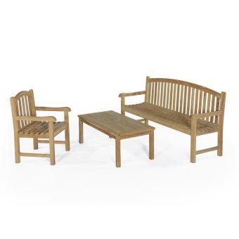 Salon de jardin 4 à 5 places et table basse en teck Ecograde ...