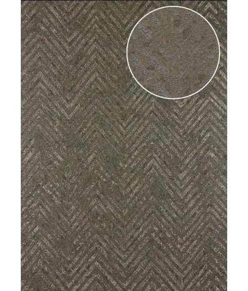 Papier peint à rayures Atlas 24C-5505-5 papier peint intissé texturé avec un dessin de chevrons et des accents métalliques brun gris-kaki bronze 7,035 m2