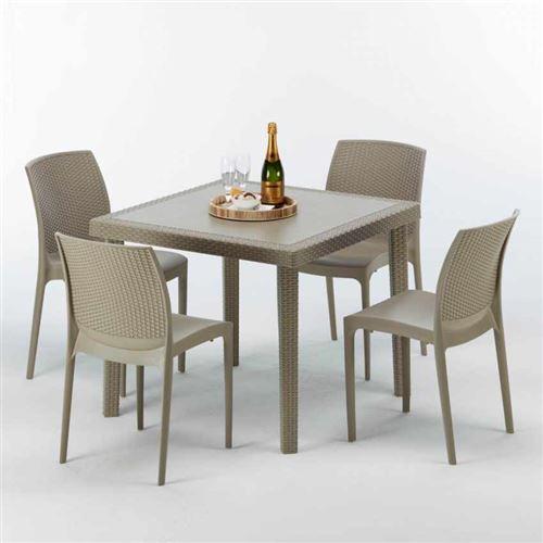 Table carrée beige + 4 chaises colorées Poly rotin synthétique ELEGANCE, Chaises Modèle: Boheme Beige Juta