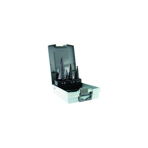 Forets métaux coniques étagés HSS revêtu TIVOLY TiAlN 4-12 / 4-20 / 4-30 mm Coffret de 3 pièces