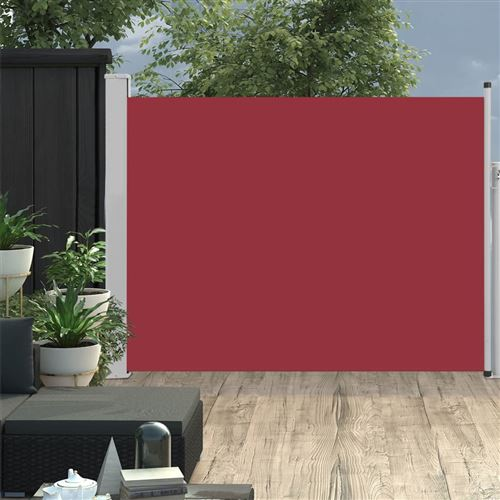 Auvent latéral rétractable de patio 140x500 cm Rouge