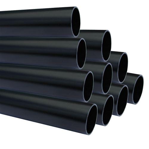 Lot de 10_Tube aluminium anodisé longueur 200 cm Ø 30 mm Noir