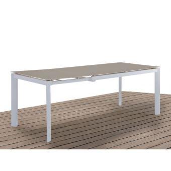 Table à manger de jardin en aluminium - extensible 4 à 6 ...