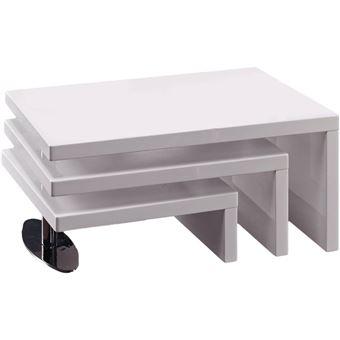Table Basse Design Elysa En Mdf Laque Blanc 80 X