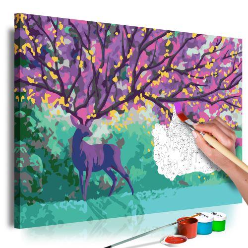 Tableau à peindre par soi-même - Purple Deer - Décoration, image, art | Peinture par numéros | Kits de peinture pour adultes | 60x40 cm |