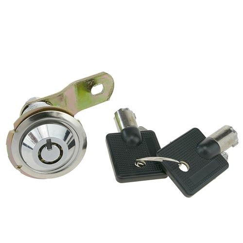 Serrure à came batteuse barillet 27mm x M18 avec clé tubulaire