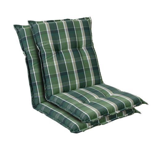 Coussin de chaise de jardin -Blumfeldt Prato -103 x 52 x8 cm -2 pièces -Vert/Gris