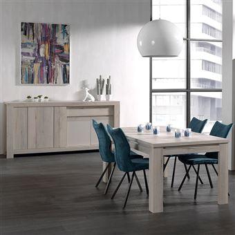 Nouvomeuble - Salle à manger moderne couleur chêne clair et beige louise