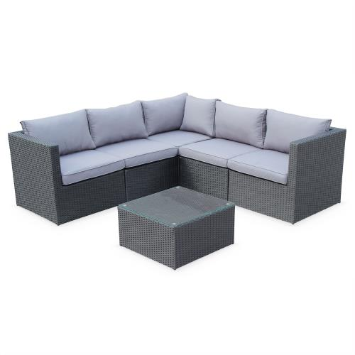 Salon de jardin résine tressée - Siena - Coloris noir coussins gris structure aluminium canapé d'angle d'extérieur5 places