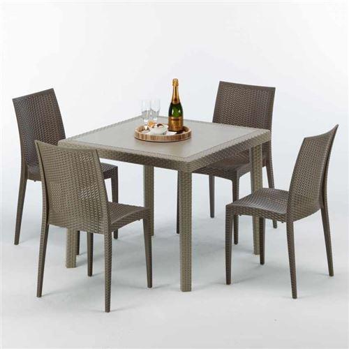 Table carrée beige + 4 chaises colorées Poly rotin synthétique ELEGANCE, Chaises Modèle: Bistrot Marron Moka