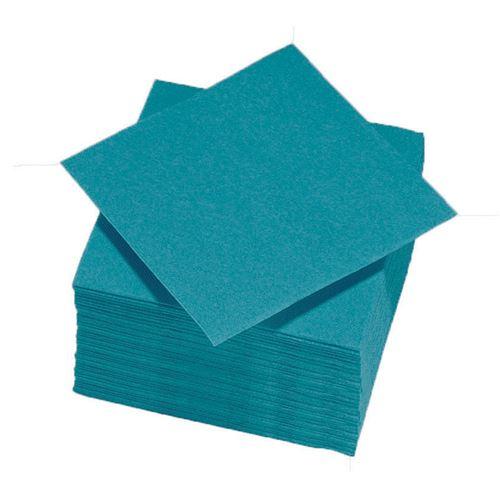 50 serviettes cocktail 25*25 - bleu canard