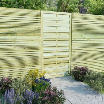 Dealpark Portillon Bois Porte de Clôture de Pin Imprégné pour Jardin ou  Patio 100 x 200 cm