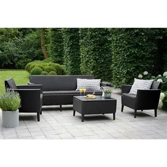 Allibert Salon De Jardin Salemo 5 Places - Imitation Resine Tressee -  Graphite