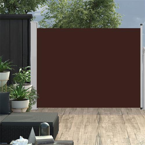 Auvent latéral rétractable de patio 140x500 cm Marron