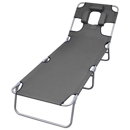 Chaise longue pliable et coussin de tête Dossier réglable Gris